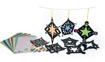 Stained Glass Stars Pack - Assorted - 20 x 20cm - Pack of 30