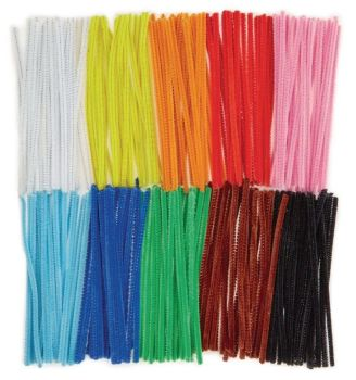 Chenille Pipe Cleaners - Assorted - 6mm x 30cm - HE259499 - Pack of 1000