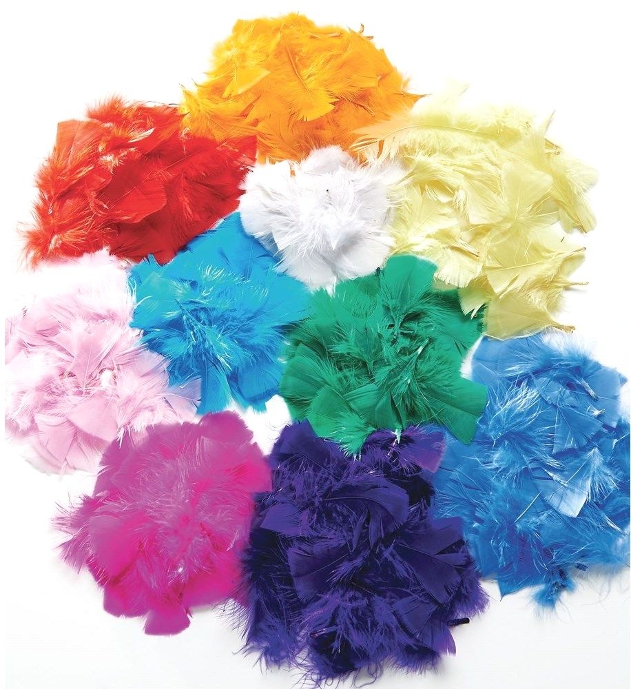 Solid Colour Feather Pack  - Assorted - HE176338 - 10 x 14g Bags