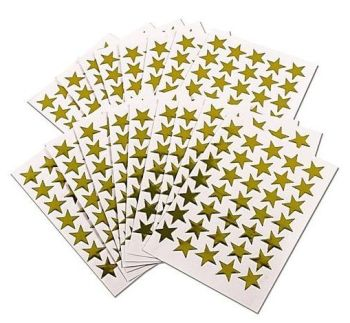 Gold Self Adhesive Merit Star Stickers - 14mm - HE1778901 - Pack of 135