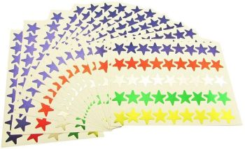 Assorted Self Adhesive Merit Star Stickers - 14mm - HE1778927 - Pack of 90