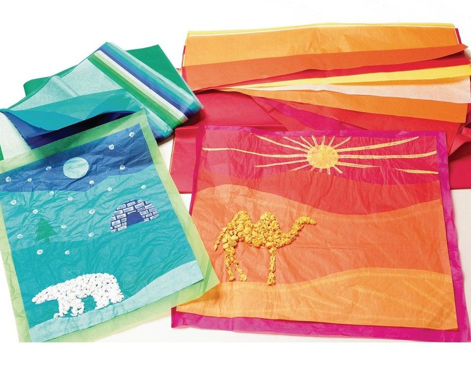 Warm & Cool Coloured Tissue Paper - Assorted - HE154446 - Pack of 10
