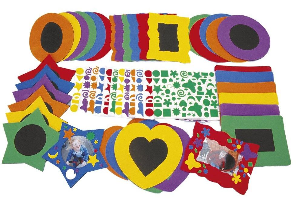 No-Glue Fun Foam Frames - Assorted Colours & Sizes - HE1815069 - Pack of 36