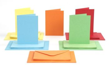 Bright Card Blanks & Envelopes - Assorted - 10.5 x 15cm - HE1774023 - Pack of 100