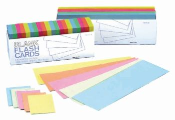 Coloured Flash Card Blanks - Assorted - 76 x 228mm - HE402980 - Pack of 250