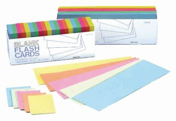 Coloured Flash Card Blanks - Assorted -  50 × 76mm - HE402993 - Pack of 1000