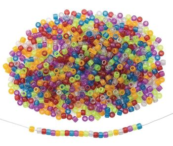 Glitter Pony Beads - 6 x 9mm - HE1499754 - Pack of 1800