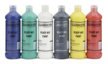 Classmates Ready Mixed Paint - Assorted - 6 x 600ml - HE1201990 - Pack of 6