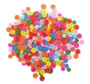 Coloured Wooden Buttons - Assorted - 12-20mm - L-BU4530 - Pack of 360