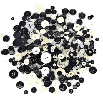 Black & White Colour Buttons - Assorted - 29136 - 500g Bag - Each