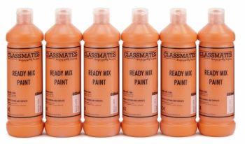 Classmates Orange Ready Mixed Paint - 600ml - HE43010 - Pack of 6