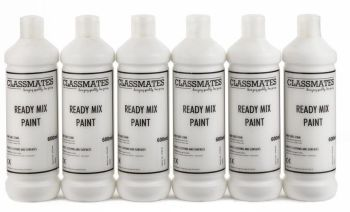Classmates White Ready Mixed Paint - 600ml - HE42919 - Pack of 6