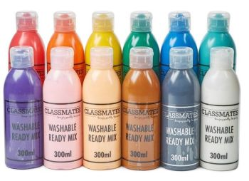 Classmates Washable Ready Mixed Paint - Assorted - 12 x 300ml - HE1576874 - Pack of 12