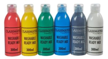 Classmates Washable Ready Mixed Paint - Assorted - 6 x 300ml - HE1201988 - Pack of 6