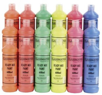 Classmates Fluorescent Ready Mixed Paint - 600ml - HE1506717 - Pack of 18