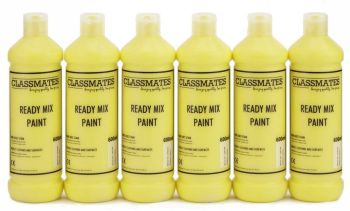 Classmates Brilliant Yellow Ready Mixed Paint - 600ml - HE42958 - Pack of 6