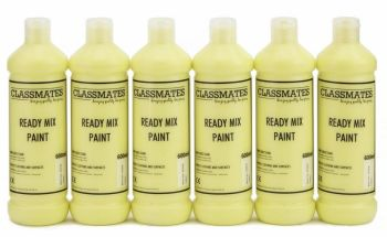Classmates Lemon Yellow Ready Mixed Paint - 600ml - HE215416 - Pack of 6