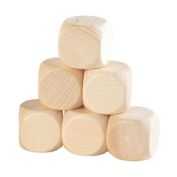Beech Wood Cubes - 4cm  - HE1630344 - Pack of 6