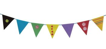 Coloured Plain Bunting Flags - Assorted - 14.5 x 18cm - HE137299 - Pack of 120 + Ribbon