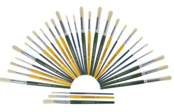 Chubby Brushes Hog Hair Short Handle Round Brushes - 10 each Sizes 8, 12 & 18 - HE136194 - Pack of 30