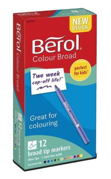 Berol Colour Broad Colouring Pens - Assorted - HE1774060 - Pack of 12