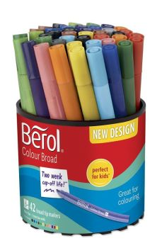 Berol Colour Broad Colouring Pens - Assorted - HE1774062 - Tub of 42