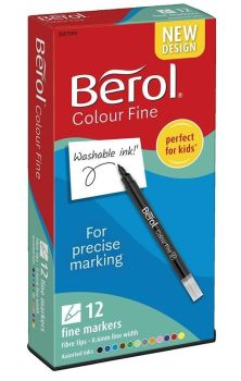 Berol Colour Fine Colouring Pens - Assorted - HE1774066 - Pack of 12