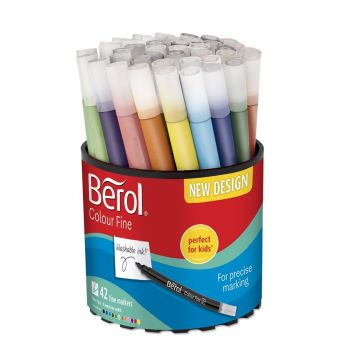 Berol Colour Fine Colouring Pens - Assorted - HE1774068 - Tub of 42