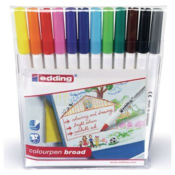 Edding  Assorted Broad Colouring Pens - HE1103040 - Pack of 12