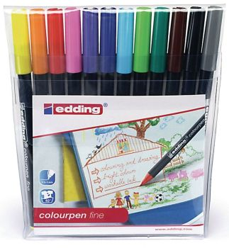 Edding Assorted Fine Colouring Pens - HE1103034 - Pack of 12