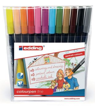 Edding Assorted Fine Portrait Colouring Pens - HE1102113 - Pack of 12
