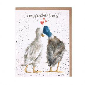 Wrendale Congratulations Card- Duck Love