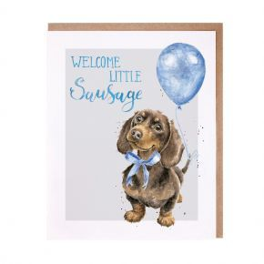 Wrendale New Baby Boy Card- Dachshund