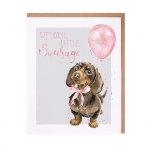Wrendale New Baby Girl Card- Dachshund