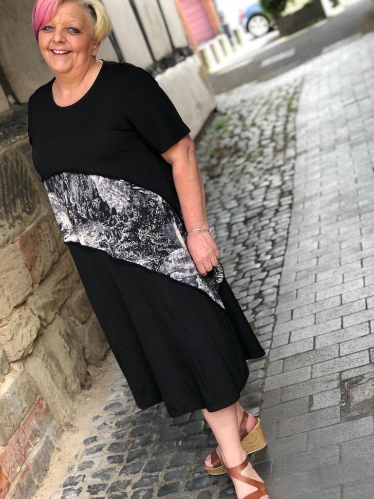 Malissa J Marble Split Dress- Black