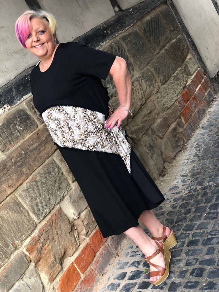 Malissa J Leapord Split Dress- Black
