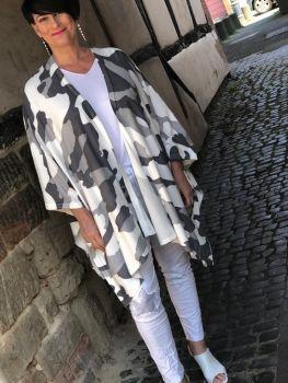Malissa J Camo Multiway Poncho Cardigan- Grey