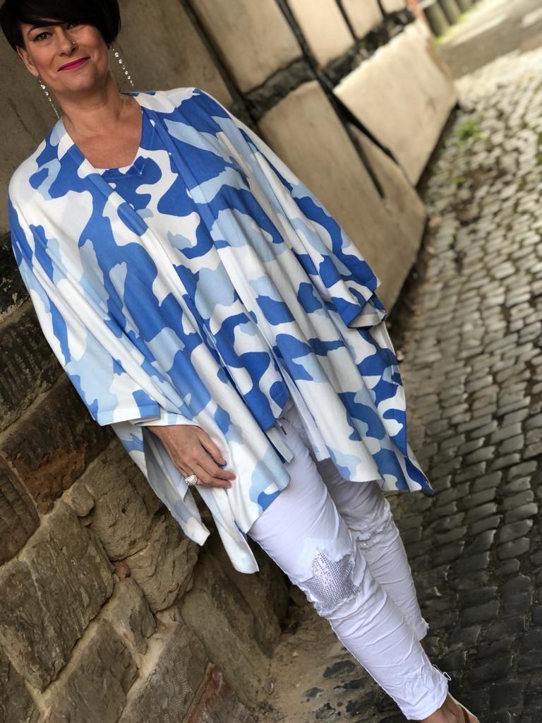 Malissa J Camo Multiway Poncho Cardigan- Blue