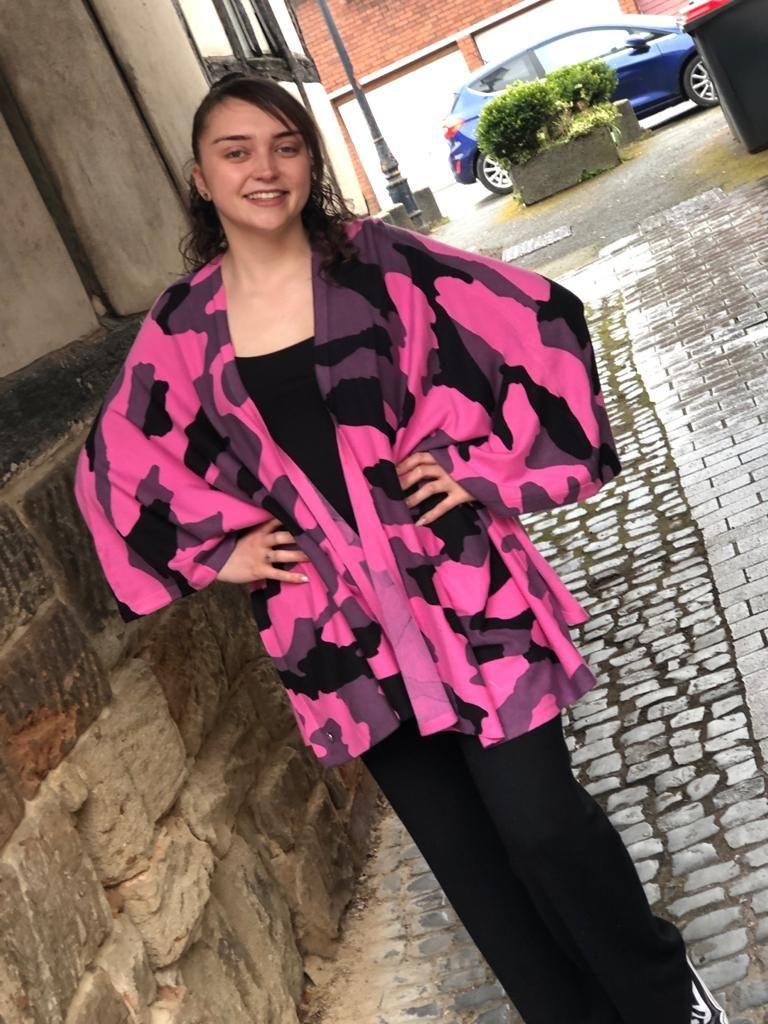 Malissa J Camo Multiway Poncho Cardigan- Pink/Black