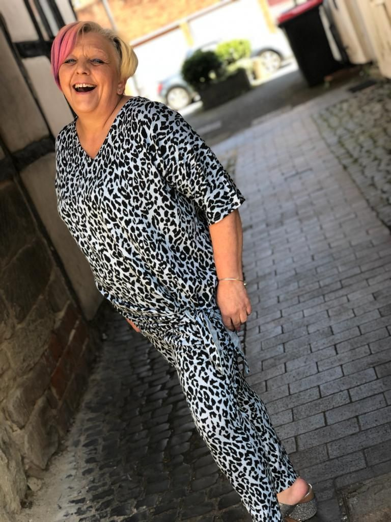 Malissa J Oversized Leapard Leisure Suit- Blue