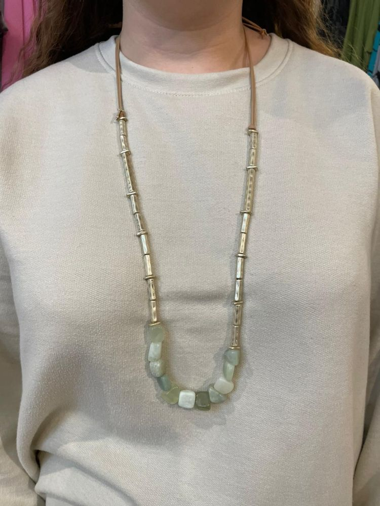 Envy Teal Stone Long Necklace