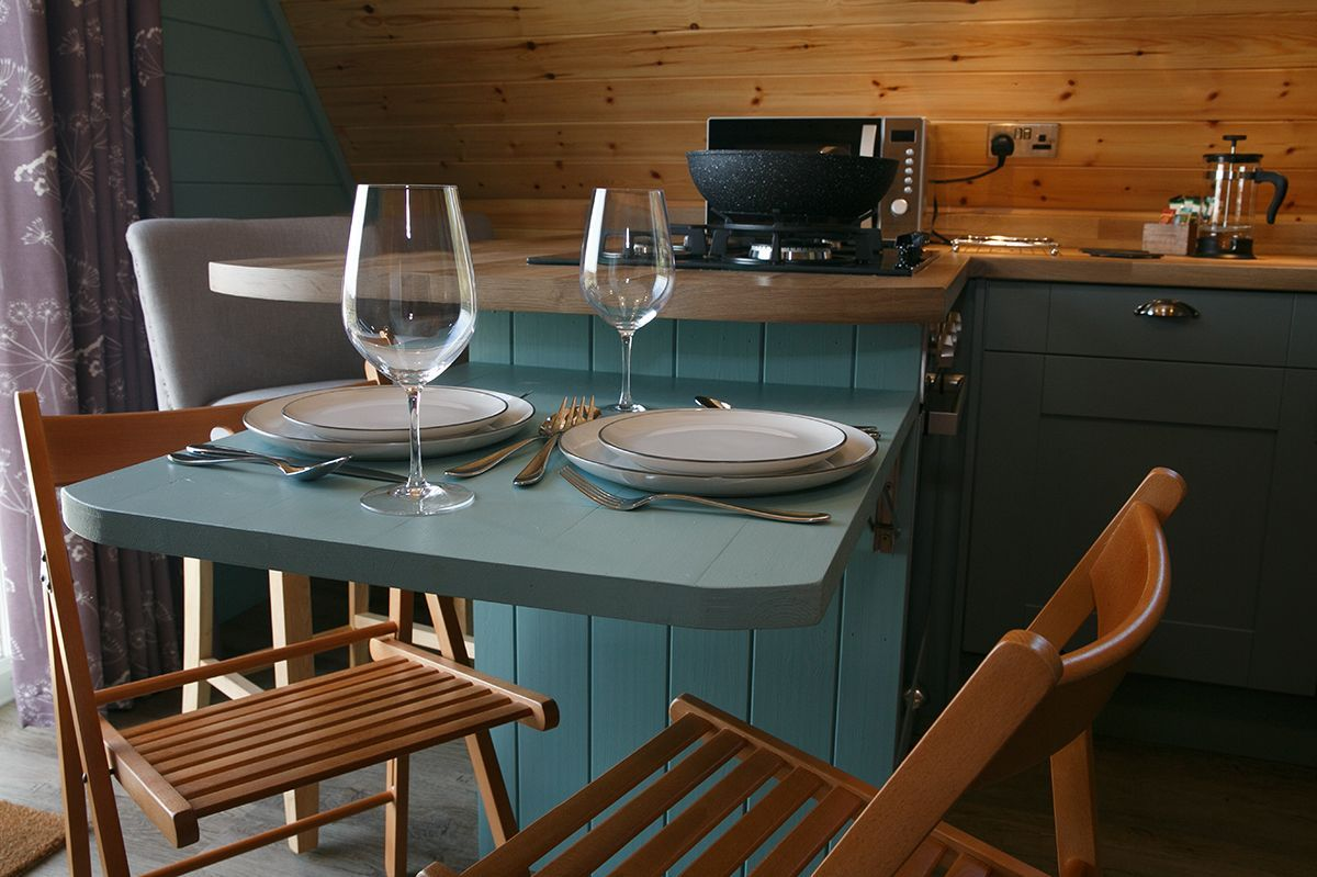 Dining area in Midshires Glamping Lodge