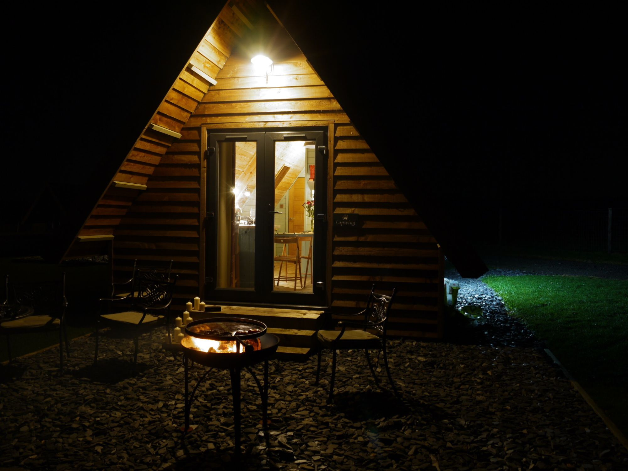 Glamping Lodge at Midshires Campsite at Night