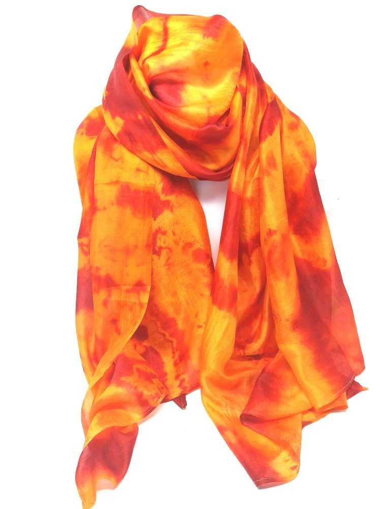 Orange Marble Silk Scarf