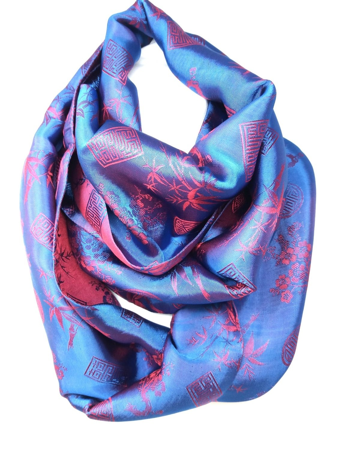 Infinity Jacquard Red & Blue Scarf