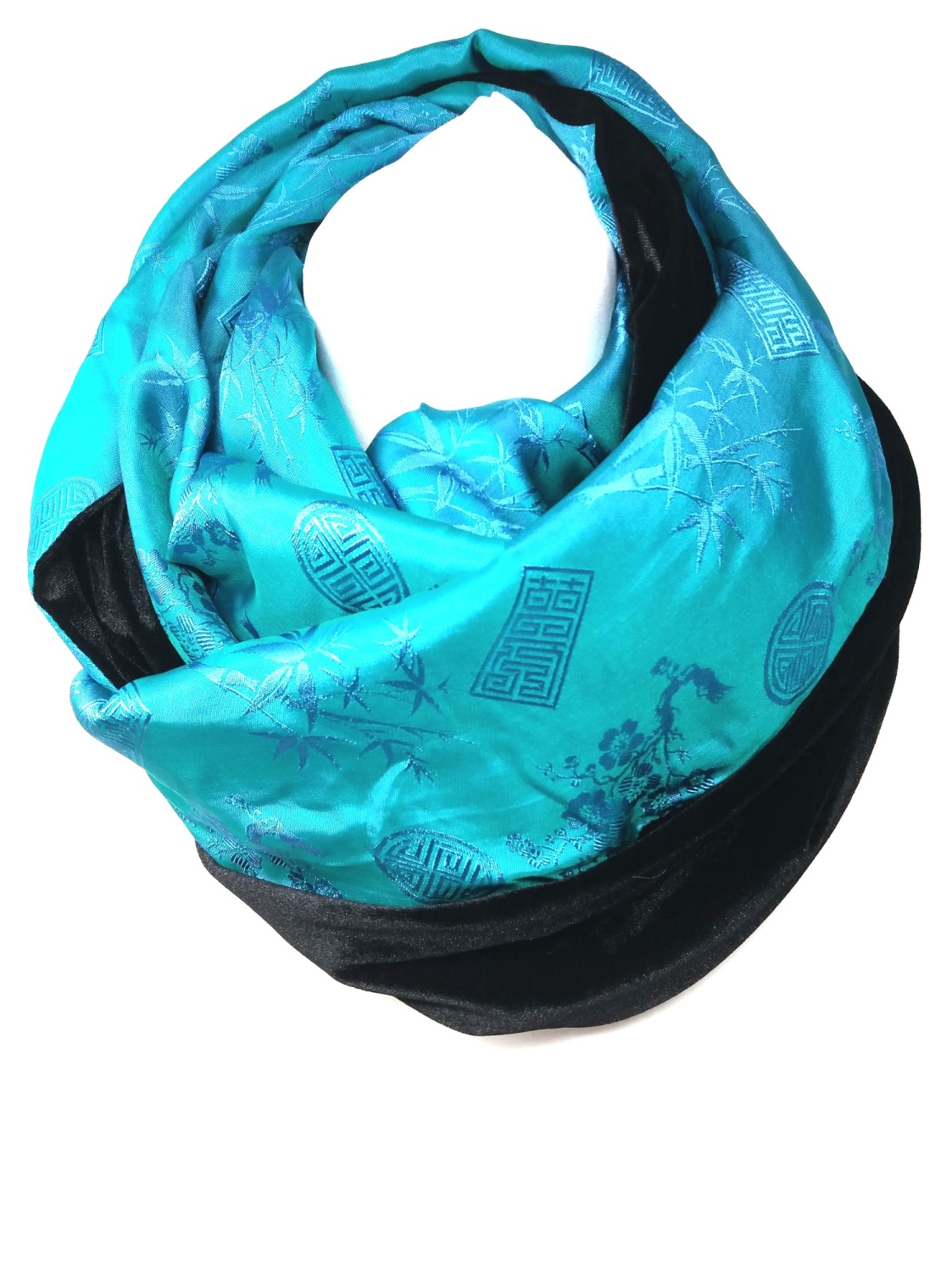 Turquoise and Black Infinity Scarf