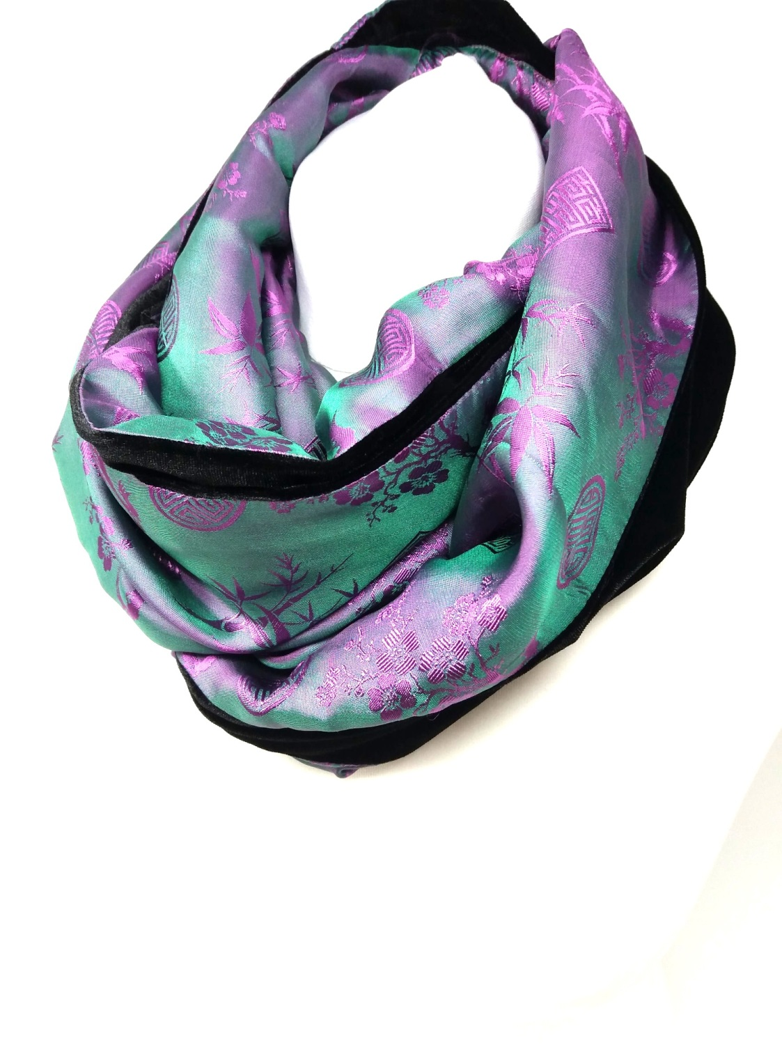 Pink / Green and Black Infinity Scarf
