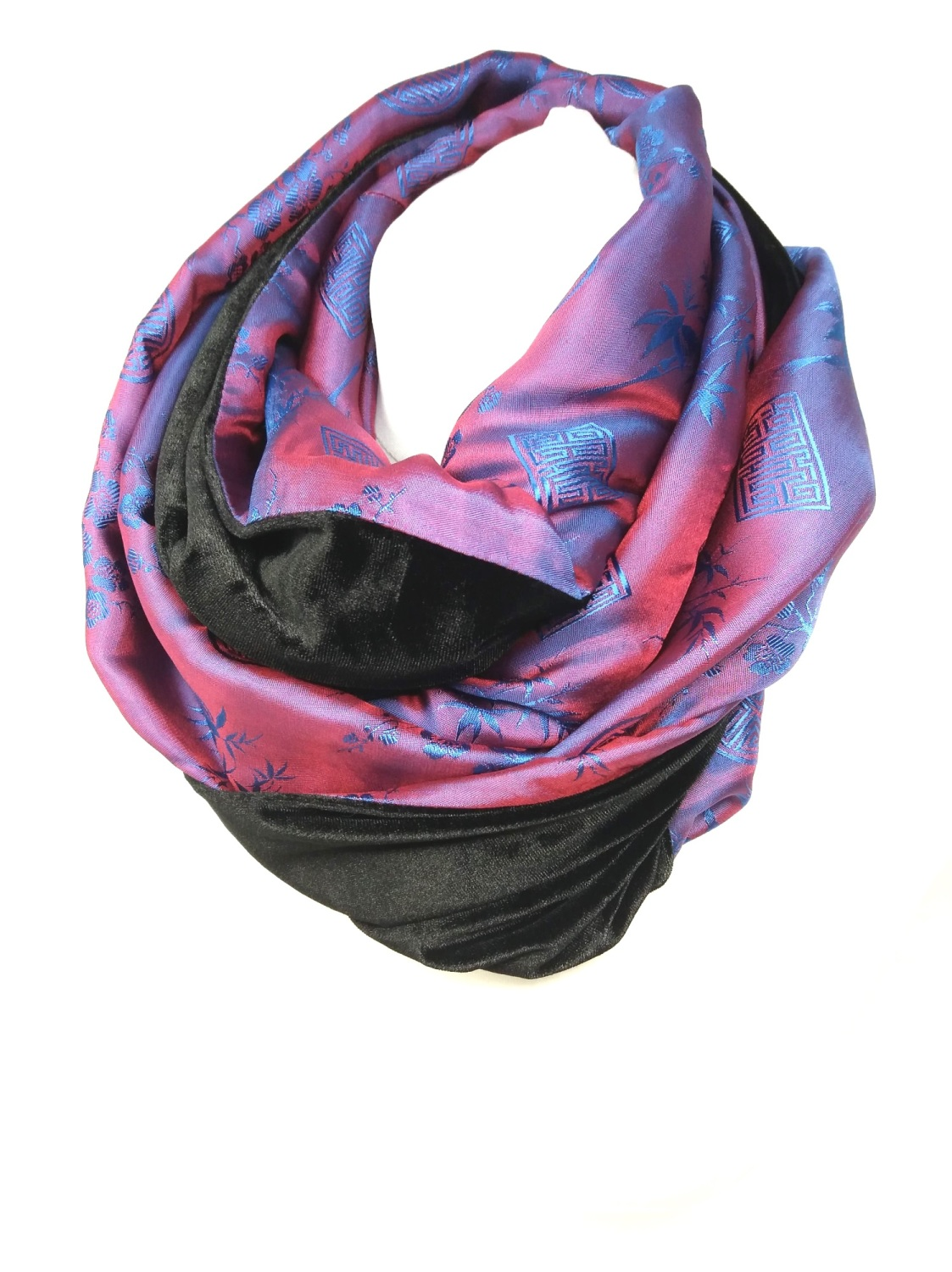 Red/ Blue and Black Infinity Scarf