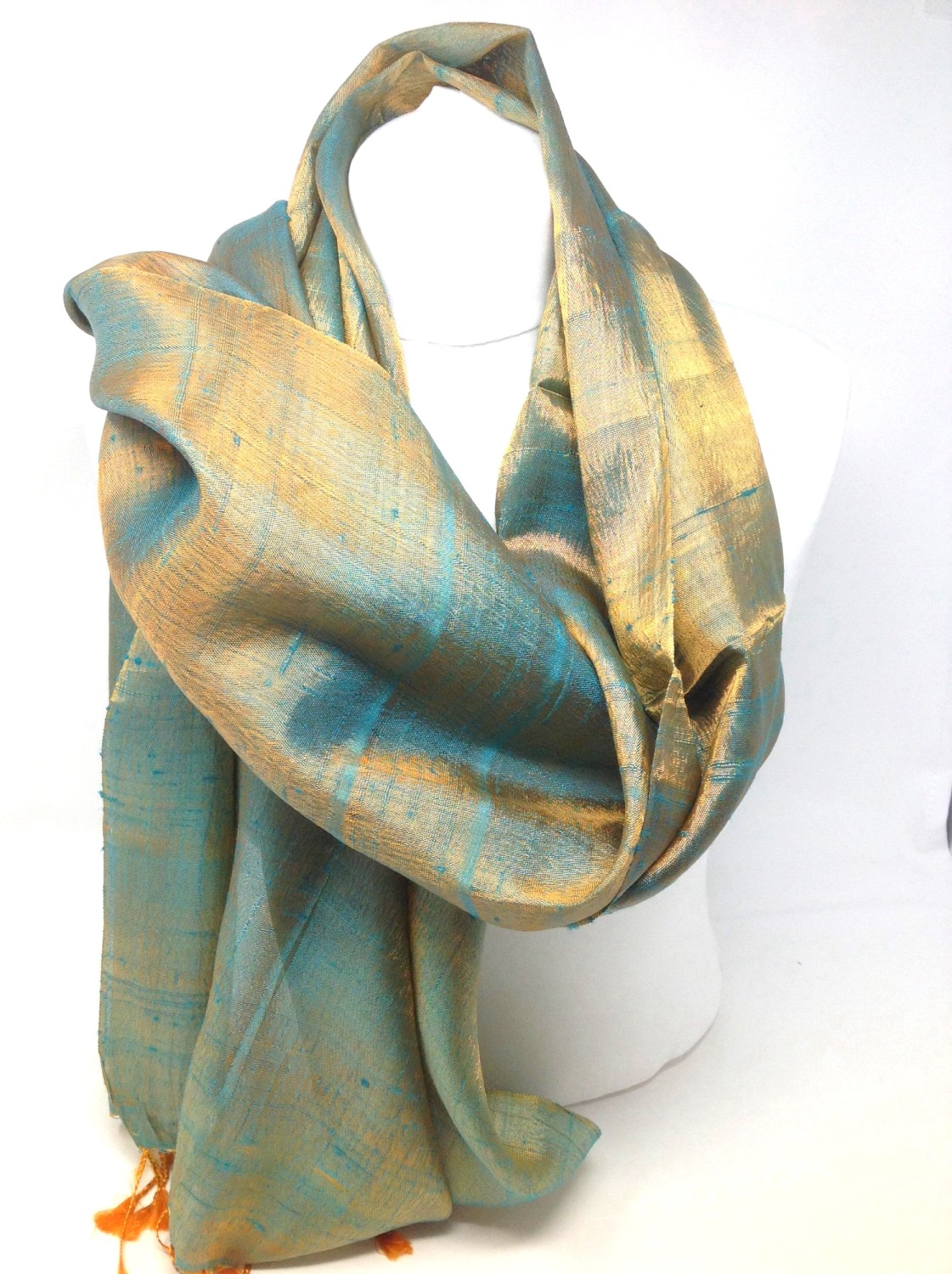 Bronze and Green  Shot Silk Blend Scarf