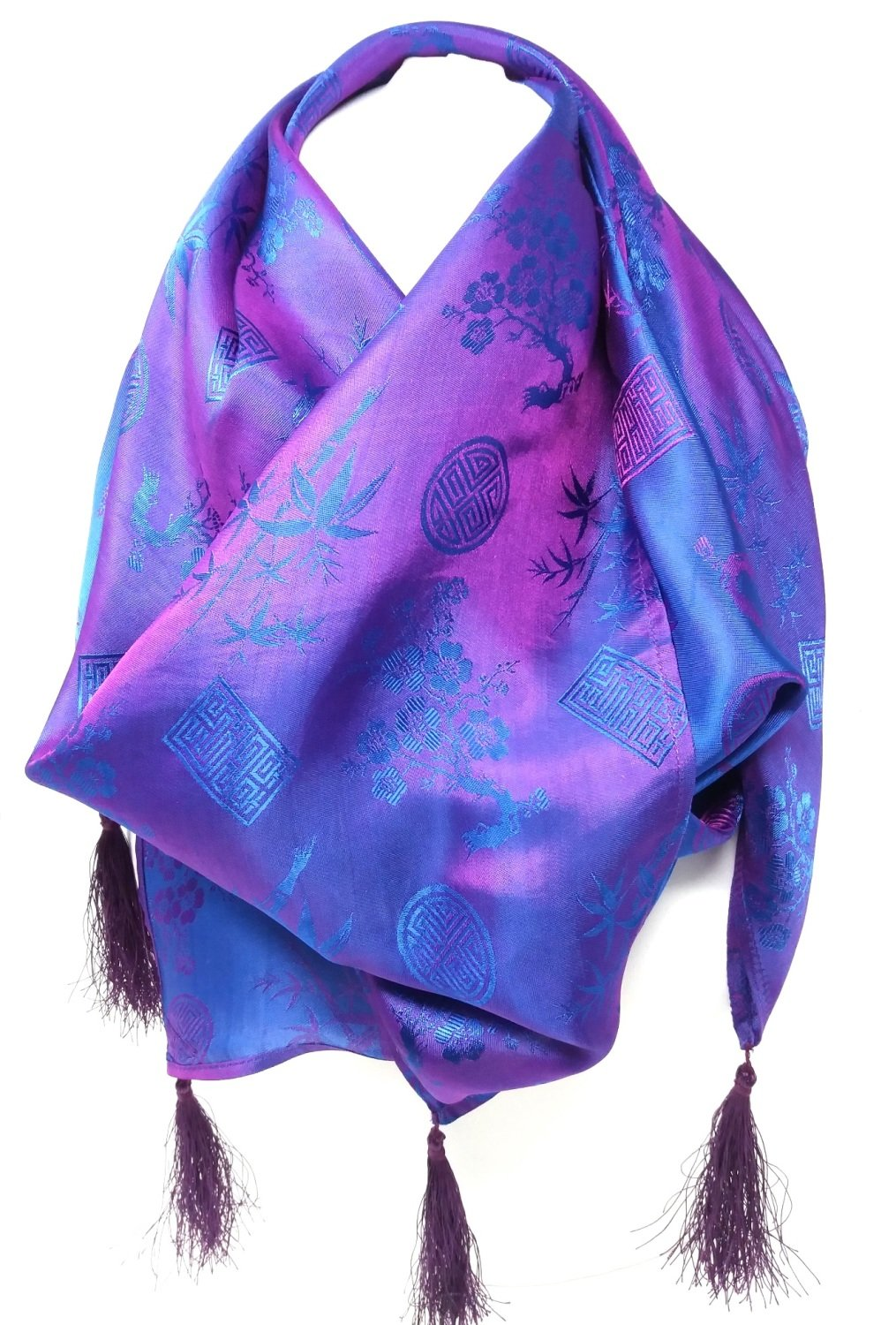 Purple Silk Tassel Scarf